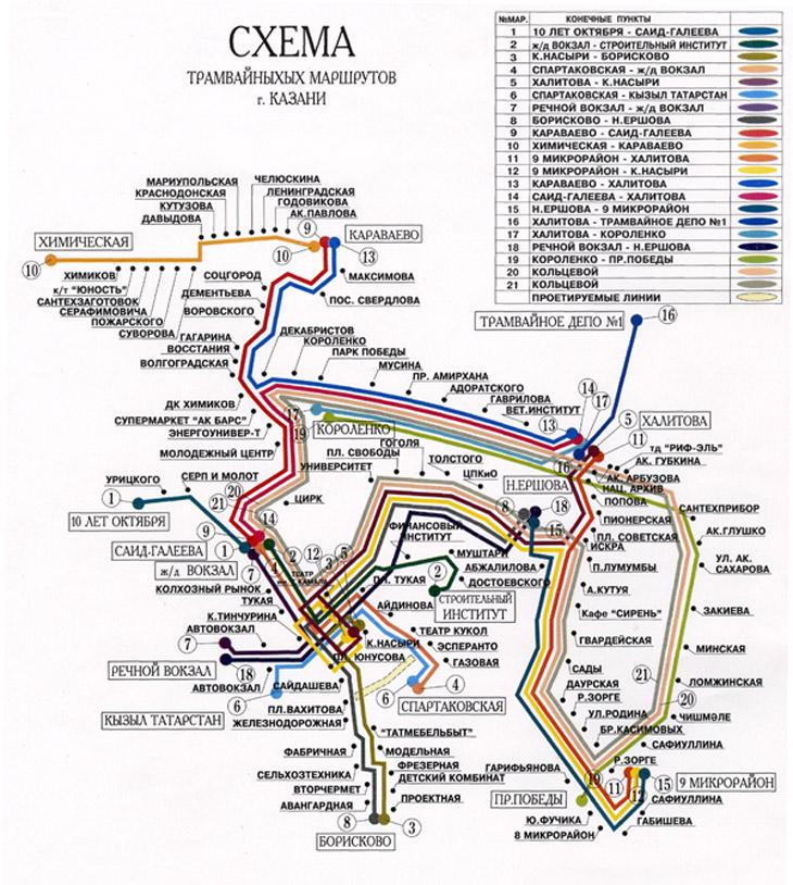 Схема маршрутов казани